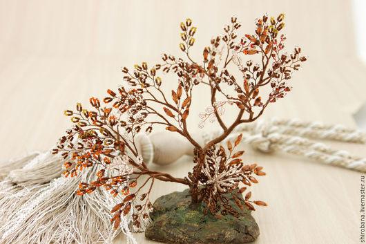 Бонсай ручной работы. Ярмарка Мастеров - ручная работа. Купить дерево из бисера бонсай. Handmade. Дерево, букет, новогодние украшения