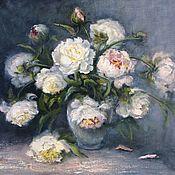 Картины и панно handmade. Livemaster - original item Oil painting White peonies author`s work. Handmade.