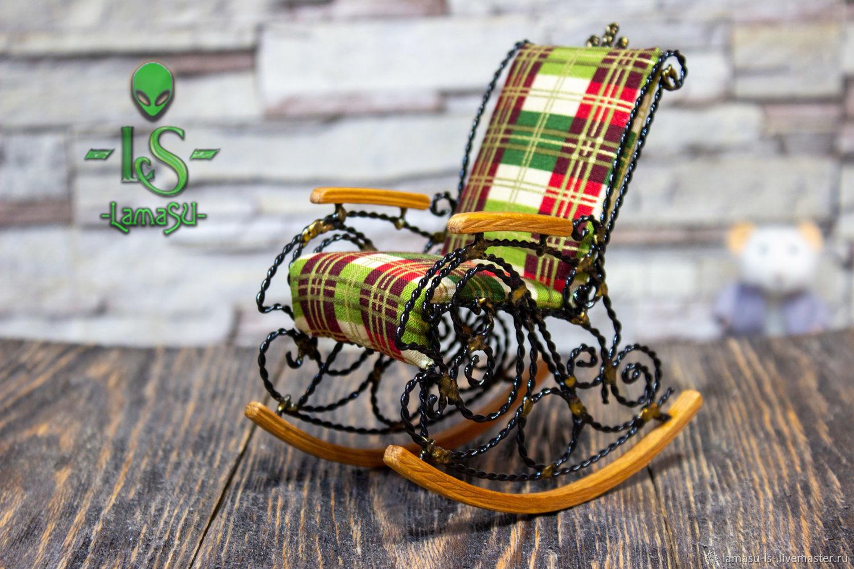 Кресло качалка для куклы,миниатюра, Мебель для кукол, Вологда,  Фото №1