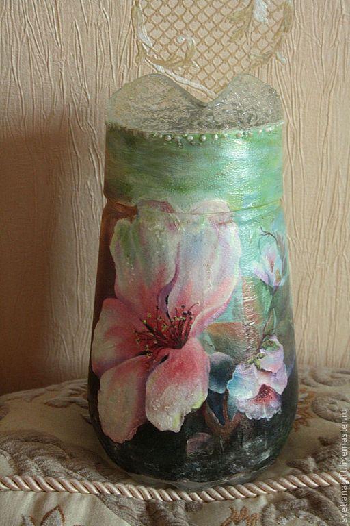 Графины, кувшины ручной работы. Ярмарка Мастеров - ручная работа. Купить Кувшин Цветочный сад. Handmade. Стекло, цветы