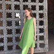 "Одежда handmade. Livemaster - original item Green linen dress ""Iwaki"". Handmade."