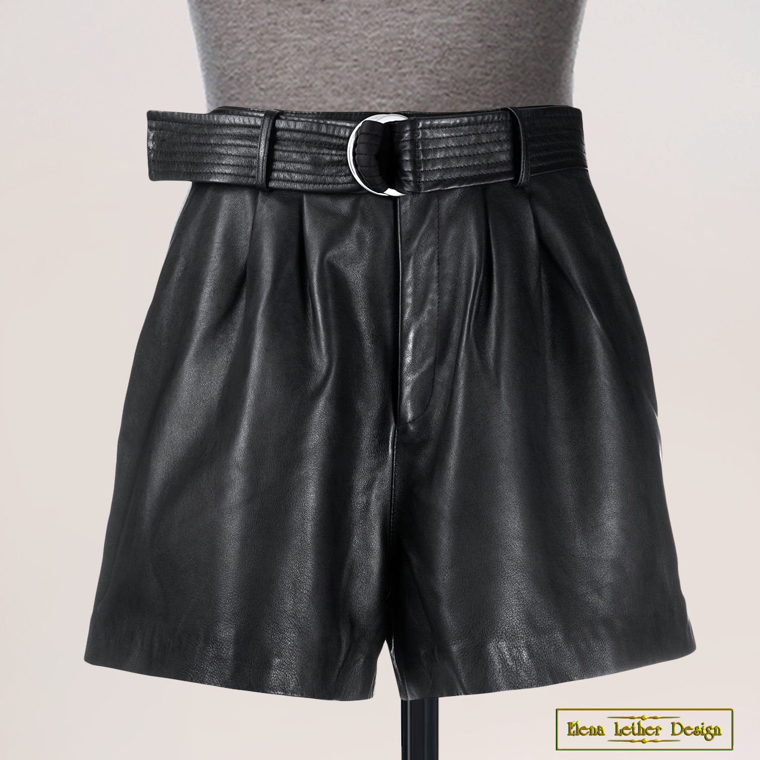 Shorts with a belt 'Pleats' made of genuine leather, Shorts, Rodniki,  Фото №1