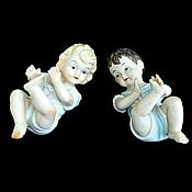 Пара Старинных Статуэток Piano Baby 1950 - 1960 Винтаж