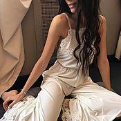 Одежда ручной работы. Ярмарка Мастеров - ручная работа Белый кружевной комбинезон для утра невесты. Подарок на девичник. Handmade.