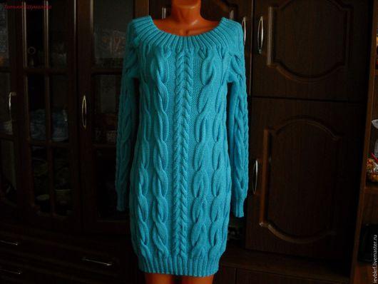 Платья ручной работы. Ярмарка Мастеров - ручная работа. Купить платье вязаное спицами лазурное. Handmade. Бирюзовый, платье спицами