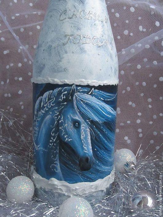 Новый год 2017 ручной работы. Ярмарка Мастеров - ручная работа. Купить Новогодний декор бутылок (2014). Handmade. Белый, год лошади