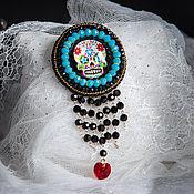 Украшения ручной работы. Ярмарка Мастеров - ручная работа Брошь Череп голубой с подвеской skull ( радужный череп, катрина). Handmade.
