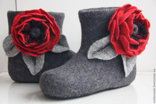 """Обувь ручной работы. Ярмарка Мастеров - ручная работа. Купить Валенки """"Кармен"""". Handmade. Темно-серый"""