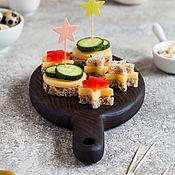 Посуда handmade. Livemaster - original item Oval mini board made of dark ash for serving. Handmade.