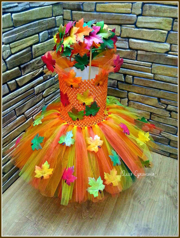 Пышное осеннее платье с кленовыми листочками, Одежда, Москва, Фото №1