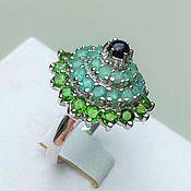 handmade. Livemaster - original item Ring with natural emeralds, opal