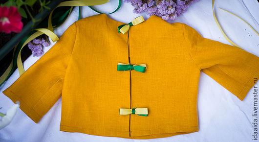Одежда для девочек, ручной работы. Ярмарка Мастеров - ручная работа. Купить Льняная кофточка для девочки с длинным рукавом. Handmade. Лимонный