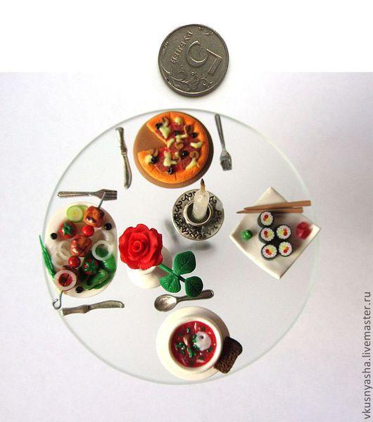 Миниатюра ручной работы. Ярмарка Мастеров - ручная работа. Купить Миниатюрная еда.Композиция «Незабываемый ужин»из полимерной глины. Handmade.