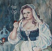 Картины и панно ручной работы. Ярмарка Мастеров - ручная работа Ключница с трубкой. Акварель-гуашь. Handmade.