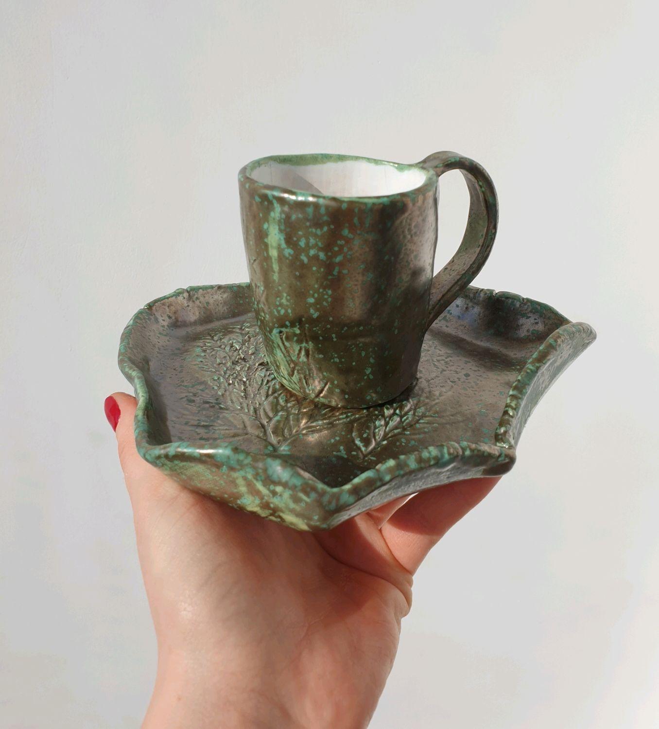 Кружки и чашки ручной работы. Ярмарка Мастеров - ручная работа. Купить Чашка с блюдцем из керамики. Handmade. Чайный набор