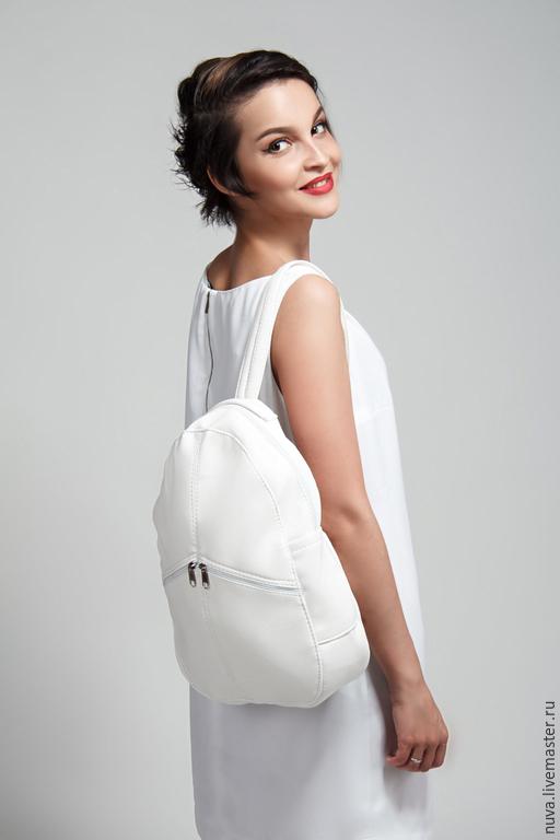 Рюкзаки ручной работы. Ярмарка Мастеров - ручная работа. Купить Белый рюкзак с карманами. Handmade. Белый, городской рюкзак