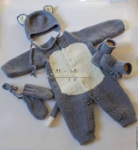 """Для новорожденных, ручной работы. Ярмарка Мастеров - ручная работа. Купить Комплект для новорожденного """"Плюшевый котёнок"""". Handmade. Серый, комбинезон"""