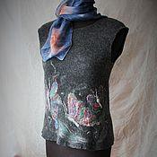 Одежда ручной работы. Ярмарка Мастеров - ручная работа Валяный топ. Шёлковый платок.  В ожидании тепла. Handmade.