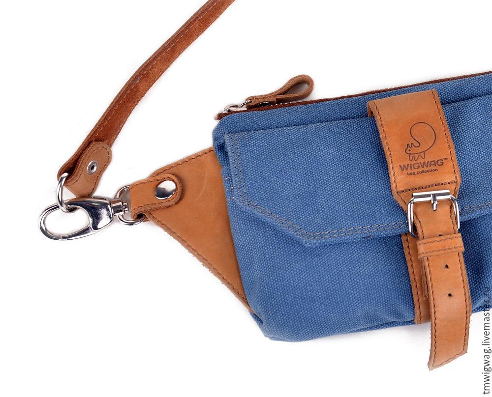 Сумки и аксессуары ручной работы. Мужская поясная сумка из канваса и натуральной  кожи. 1ce75533d85