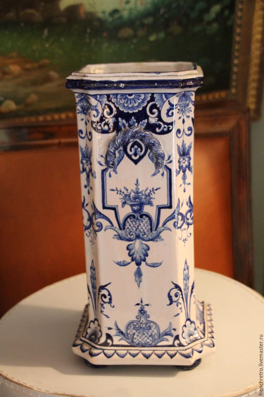 Pair antique vases. Faience France, 19th century, Vintage interior, Paris,  Фото №1