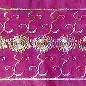 Ткани ручной работы. Ярмарка Мастеров - ручная работа Винтажная ручная аари вышивка на жоржете. Handmade.