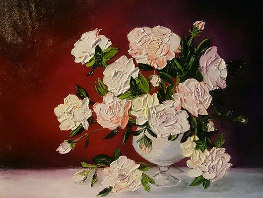 Натюрморт ручной работы. Ярмарка Мастеров - ручная работа. Купить Натюрморт. Розы.. Handmade. Розы, пионы, натюрморт, цветы, холст