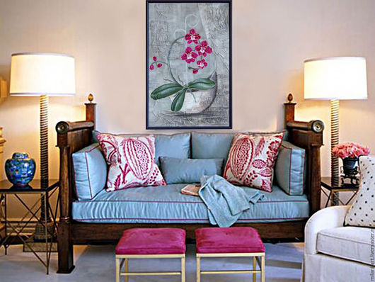 Картины цветов ручной работы. Ярмарка Мастеров - ручная работа. Купить Панно Орхидея , картина, Орхидея, Фаленопсис. Handmade. Комбинированный