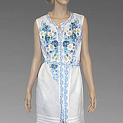 Одежда handmade. Livemaster - original item Embroidered white dress. Embroidery. Maxi dress.. Handmade.