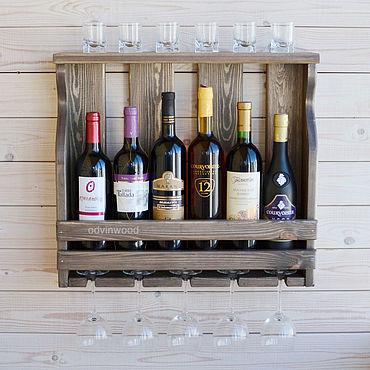 """Для дома и интерьера ручной работы. Ярмарка Мастеров - ручная работа Полка винная деревянная """"Дэлмор 2"""" на 6 винных бутылок и 5 бокалов. Handmade."""