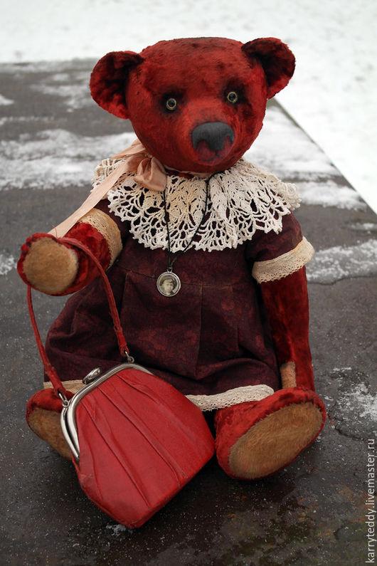 """Мишки Тедди ручной работы. Ярмарка Мастеров - ручная работа. Купить Медведь Тедди. """"Театралка"""".. Handmade. Ярко-красный"""
