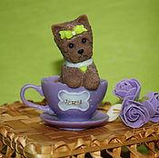 Подарки к праздникам ручной работы. Ярмарка Мастеров - ручная работа собачка в чашечке породы йорк. Handmade.