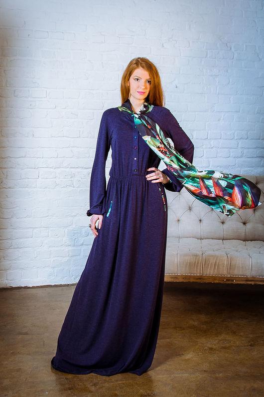 Платья ручной работы. Ярмарка Мастеров - ручная работа. Купить Платье из ангоры с шелком. Handmade. Разноцветный, красивое платье