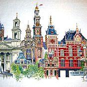 """Картины и панно ручной работы. Ярмарка Мастеров - ручная работа Вышитая картина """"Амстердам"""". Handmade."""
