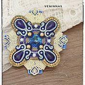 Украшения handmade. Livemaster - original item Soutache brooch Order of the blue-gold color.. Handmade.