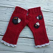 Аксессуары handmade. Livemaster - original item Mitts, knitted a fun little family of hedgehogs. Handmade.
