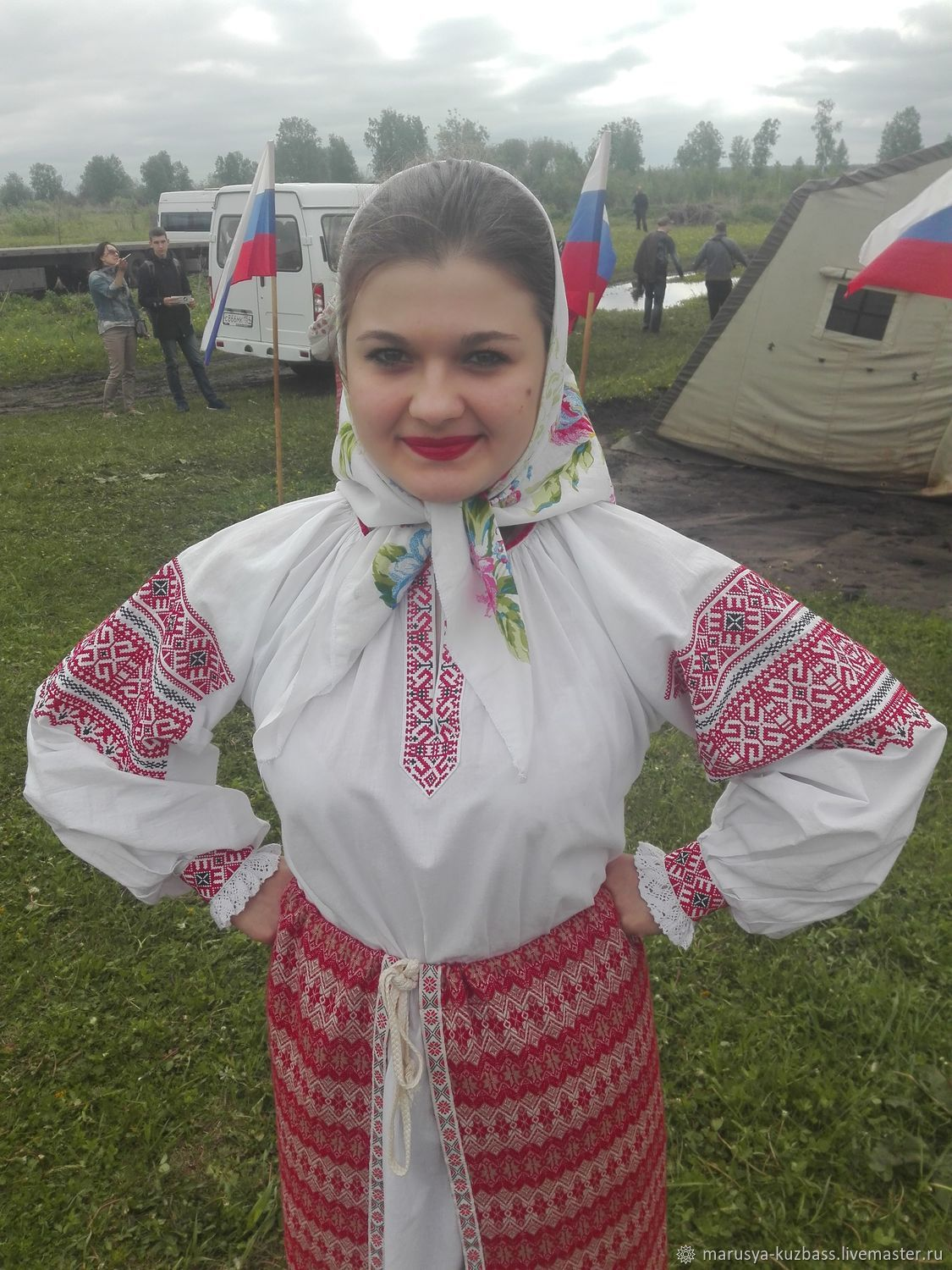 Traditional women's shirt with embroidery, People\\\'s shirts, Kemerovo,  Фото №1