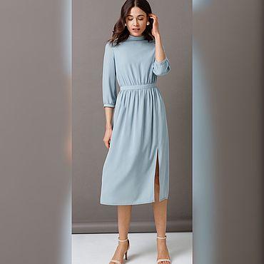 Одежда ручной работы. Ярмарка Мастеров - ручная работа Платье из шифона в серо-голубом цвете. Handmade.