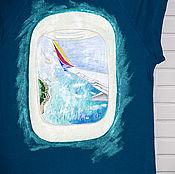 Одежда handmade. Livemaster - original item T-shirt view from the window of the sea hand painted. Handmade.