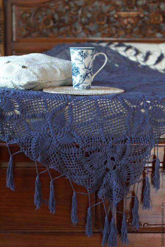 Текстиль, ковры ручной работы. Ярмарка Мастеров - ручная работа. Купить Вязанное крючком покрывало с цветочным узором.. Handmade.