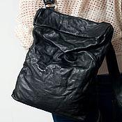 Сумки и аксессуары handmade. Livemaster - original item Black backpack, genuine leather, pressed, Black backpack.. Handmade.
