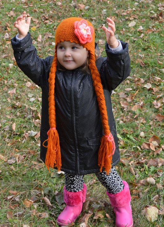 Шапки и шарфы ручной работы. Ярмарка Мастеров - ручная работа. Купить Забавная шапочка с косичками для девочки. Handmade. Рыжий