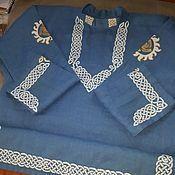 Народные рубахи ручной работы. Ярмарка Мастеров - ручная работа Рубаха мужская льняная с авторской ручной росписью. Handmade.