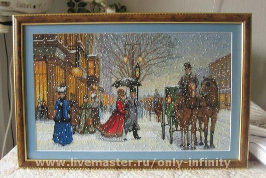 Город ручной работы. Ярмарка Мастеров - ручная работа. Купить Изящный век. Handmade. Старинный стиль, зима, канва