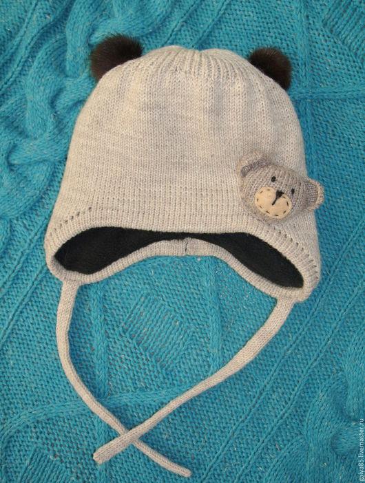 Шапки и шарфы ручной работы. Ярмарка Мастеров - ручная работа. Купить Шапка с мишкой. Handmade. Серый, шапка с помпонами