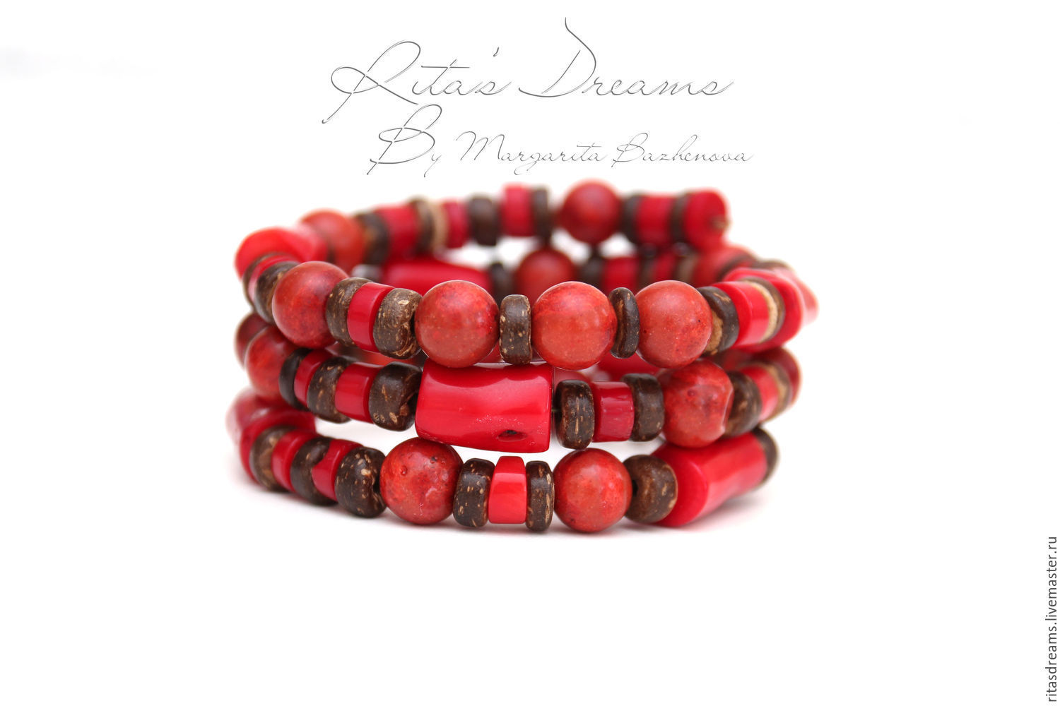 Bracelet made of red coral and coconut, light and pleasant to the touch, with wire, with memory, without fasteners.