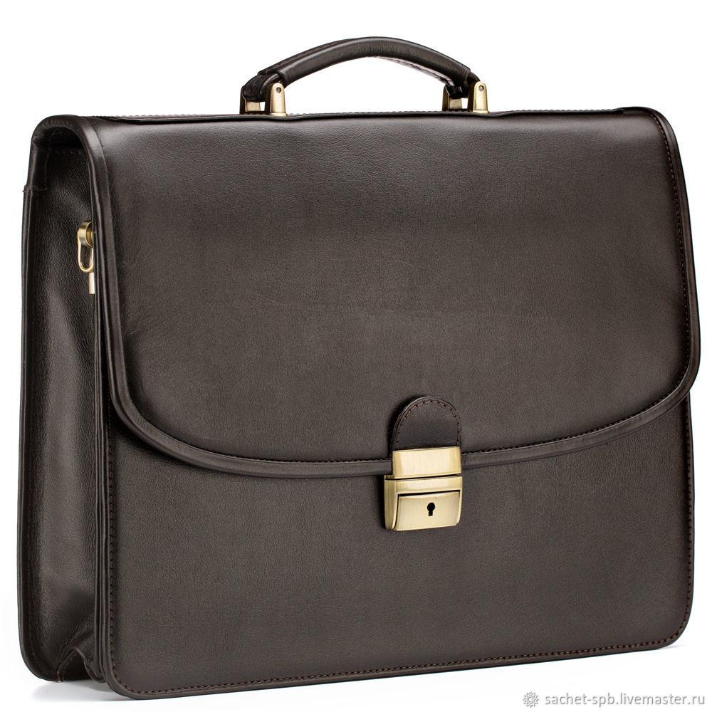 Leather briefcase 'Brest' (brown), Brief case, St. Petersburg,  Фото №1