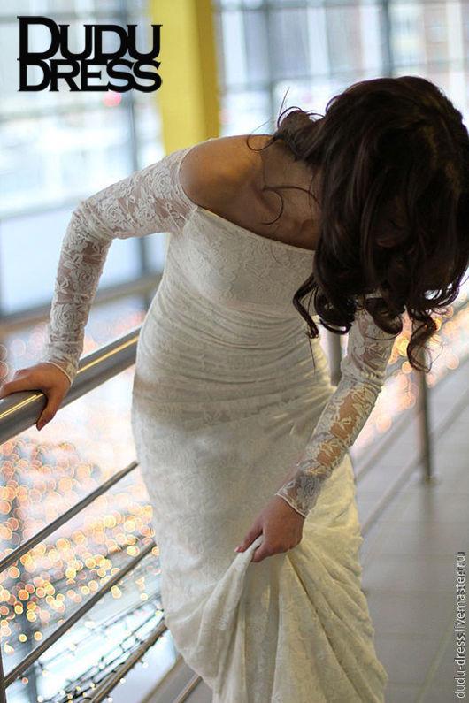 Платья ручной работы. Ярмарка Мастеров - ручная работа. Купить Белое свадебное гипюровое платье в пол. Handmade. Белый, в пол