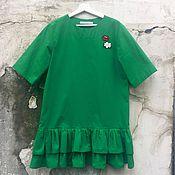 Одежда ручной работы. Ярмарка Мастеров - ручная работа Платье из хлопка СОЧНОЕ ЗЕЛЕНОЕ ЯБЛОКО. Handmade.