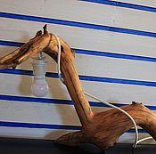 Для дома и интерьера ручной работы. Ярмарка Мастеров - ручная работа деревянный настольный светильник из ветки сосны. Handmade.
