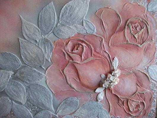 """Картины цветов ручной работы. Ярмарка Мастеров - ручная работа. Купить """"Кремовые розы"""". Handmade. Кремовый, оригинальный подарок"""